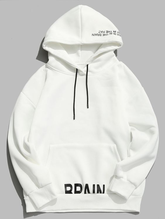 Letter Printed Drawstring Pullover Fleece Hoodie
