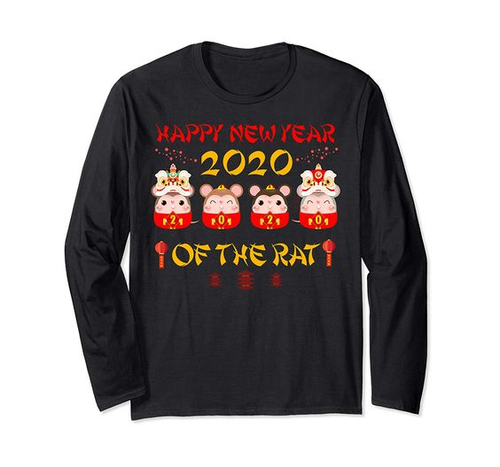 Cute Happy Chinese New Year 2020 Year of The Rat Gift Tee Long Sleeve T-Shirt