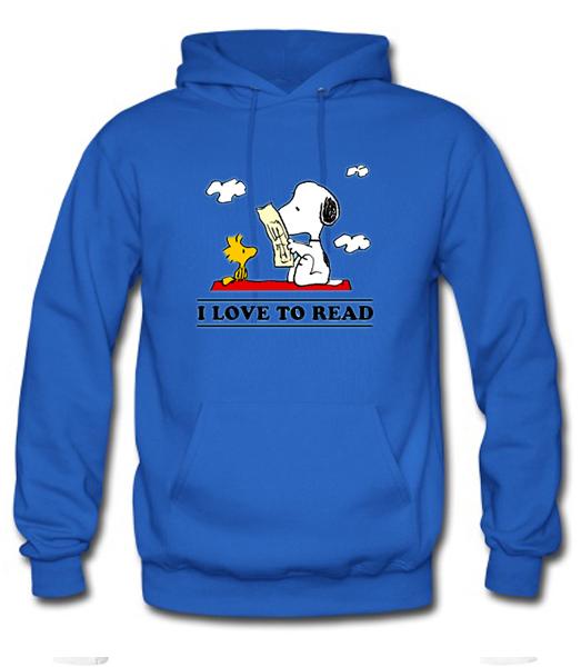 I Love To Read Snoopy Hoodie AI