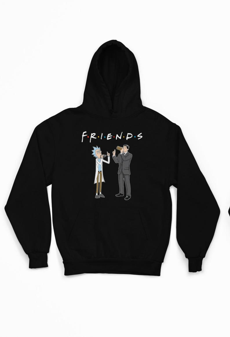 Rick and Archer Drink Wine Friends Rick and Morty Funny Hoodie AI