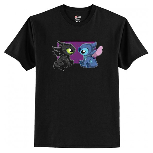 Baby Toothless Dragon and Stitch T Shirt AI
